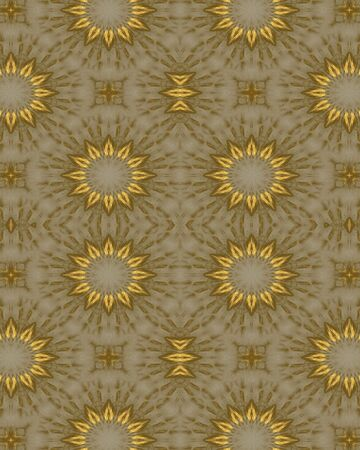 Abstact fractal wallpaper with a gold daisy design