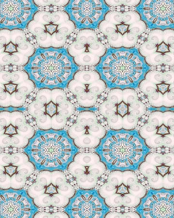 Abstract fractal Victorian inspired wallpaper with a medallionand shell design