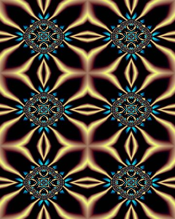 Abstract fractal wallpaper in a Nouveau-inspired jewel design