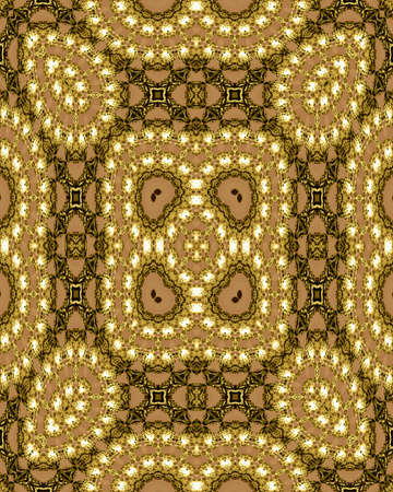 Abstract fractal wallpaper with a gold braided Victorian lattice design