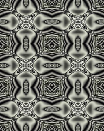 silvery: Abstract fractal wallpaper in a silvery medallion lattice design Stock Photo
