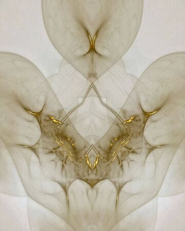 Abstract fractal image of an alien presenting a gold necklace