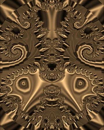 Abstract fractal image resembling a copper beast mask