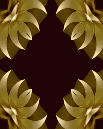 Abstract fractal frame image in a golden feather design
