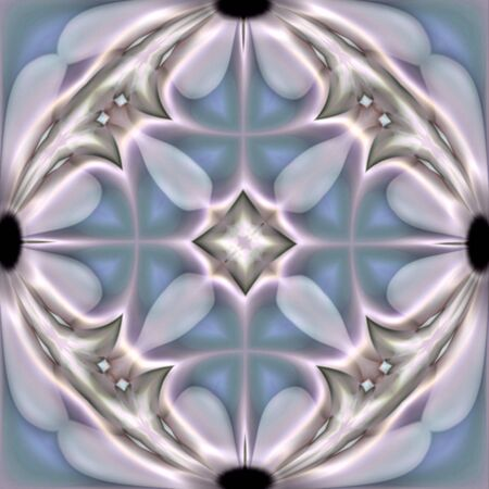 Abstract fractal image in the form of a tile with daisy accents