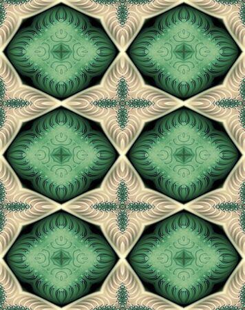 octagonal: Resumen fractal papel tapiz con almohada octogonal y cruz