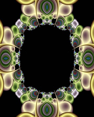 evoking: Abstract fractal frame image evoking a party or bubble theme