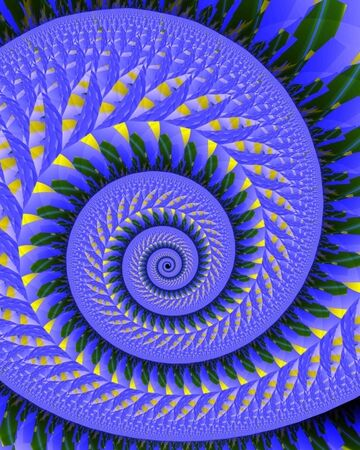Abstract fractal image resembling a quilt wound in a spiral