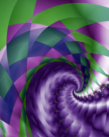 Abstract fractal swirl image with a harlequin and braided pattern