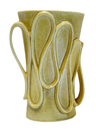 Isolated vintage 50s retro chartreuse glazed vase on white background Reklamní fotografie