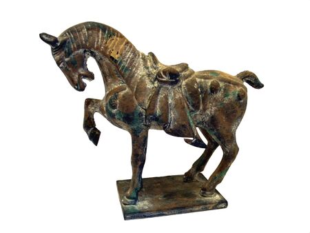 Isolated antique bronze Chinese war horse figure with saddle on stand with white background
