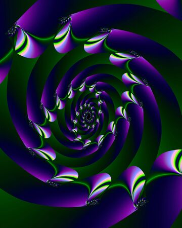 Abstract fractal image of a purple spiral with colorful disc points