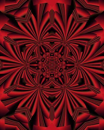 abstract fractal red mandala