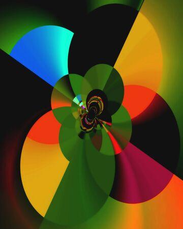 Kort fractaal beeld van dansende schijven van koninklijke kleuren