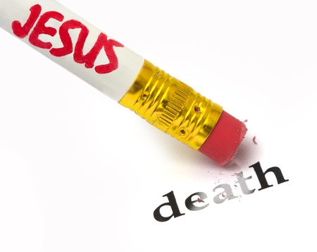 concept of Jesus removing the sting of death, using an eraser as analogy
