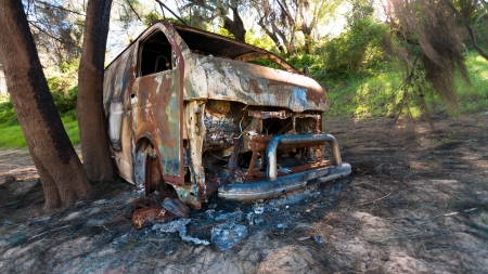 burnt out: burnt out, abandoned van