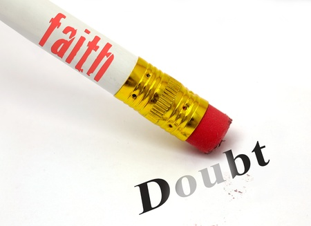 christian faith: concept of pencil and eraser with faith erasing doubt
