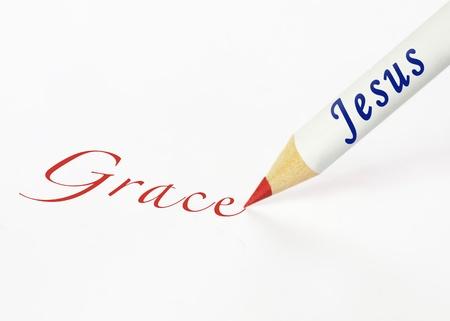 Jesus spells grace Stock Photo