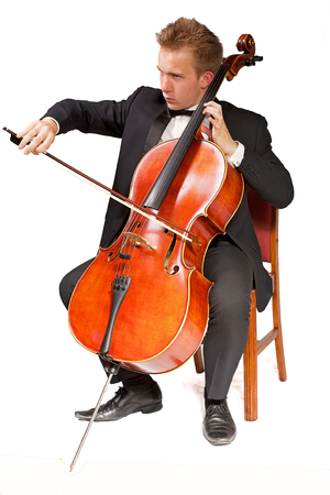 young caucasian cello player with white background
