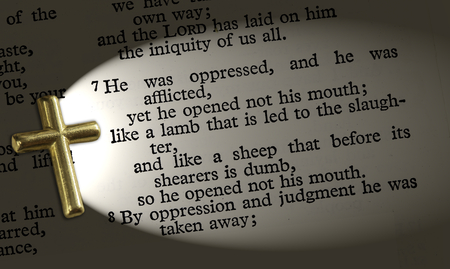 isaiah: The bible passage Isaiah 53:7, lit up by the cross