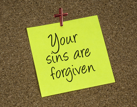 forgiven: a reminder note with a statement that Jesus forgives