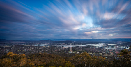 Canberra: A sunst view of Canberra, capital of Australia Stock Photo