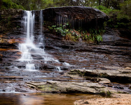 Weeping falls which is situated in the uppoer Wentworth Falls, Blue Mountains, NSW, Australia