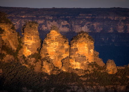 Three Sisters, at Katoomba, in the Blue Mountains, Australia. Captured at sunset.
