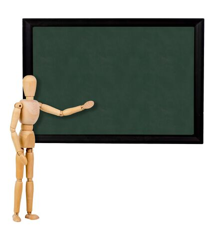 mannequin pointing to blank blackboard for others to personalize