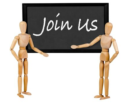 two mannequins pointing to blank blackboard stating join us