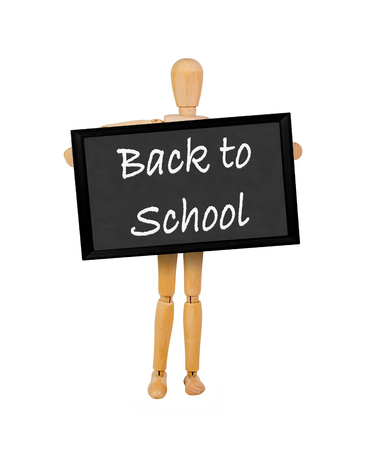 mannequin holding a  blank blackboard stating Back to School