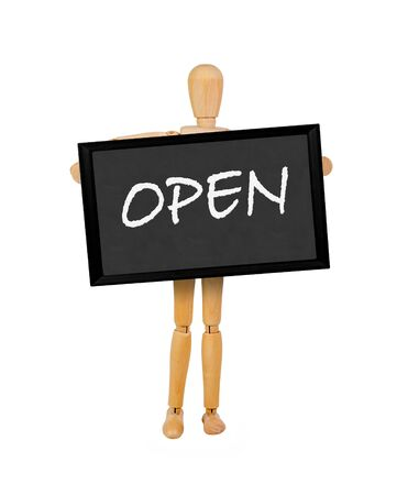 mannequin holding a  blank blackboard stating open