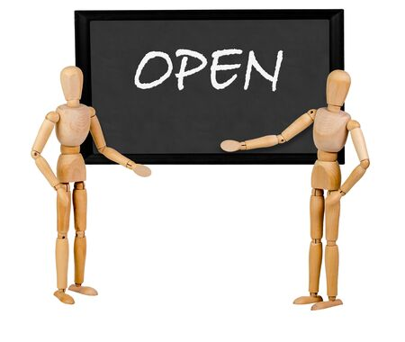 two mannequins pointing to blank blackboard stating open Imagens