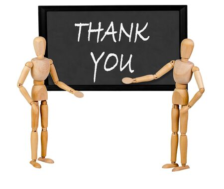 two mannequins pointing to blank blackboard stating thankyou