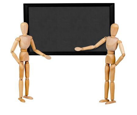 two mannequins pointing to blank blackboard for others to personalize