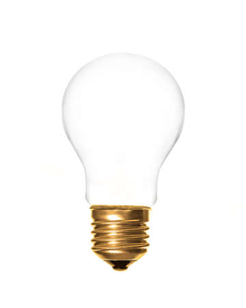 edison: a plain light bulb on a white background, which can be filled with text Stock Photo