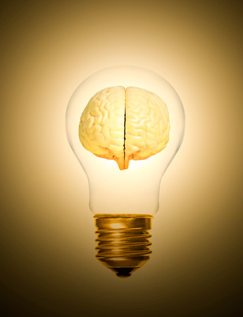 concept of brain within a light bulb lit up moment as a light bulb Imagens