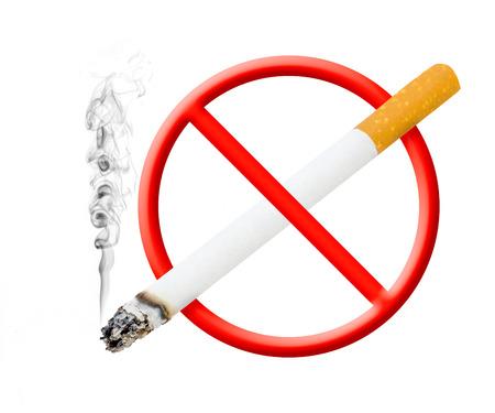 煙タバコをオフに上昇 '禁煙' シンボルのバージョンを撮影 写真素材