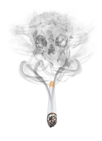頭蓋骨を形成するたばこから立ちのぼる煙の概念