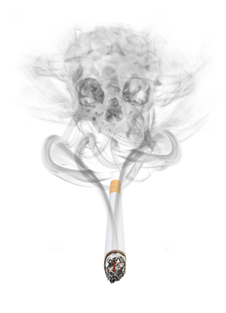 concept of smoke rising from cigarette forming a skull Imagens - 60557326