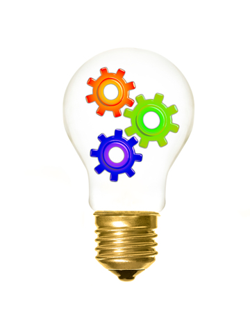 a light bulb with cogs inside on a white background Banque d'images