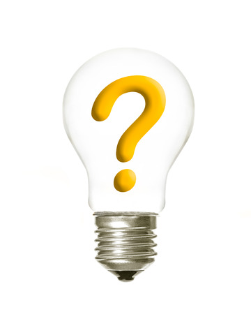 questions: a light bulb with the question symbol inside on a white background