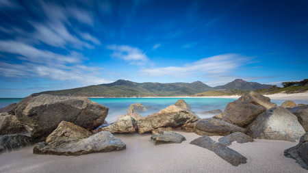 a long exposure of Wineglass Bay, Freycinet National Park, Tasmania.