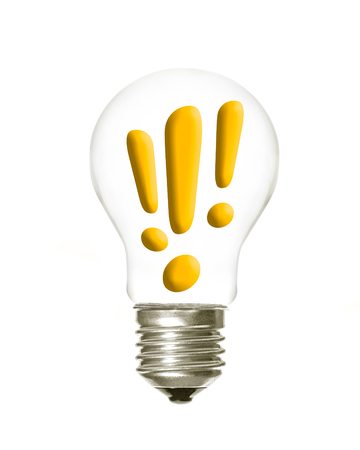 a light bulb with the three explamation symbols inside on a white background Imagens - 85727721