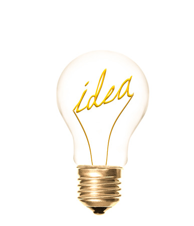 the idea of word idea providing light as a lightbulb