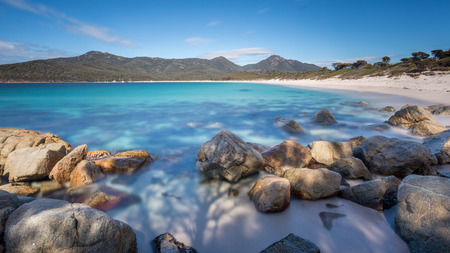 a long exposure of Wineglass Bay, Freycinet National Park, Tasmania
