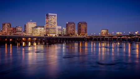 Richmond, capital of Virginia, USA, just after dusk Stock Photo