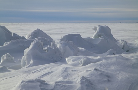 conglomeration: Icy rocks on the frozen sea Stock Photo