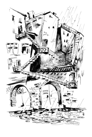 addle: Hand drawn abstract city labyrinth Stock Photo