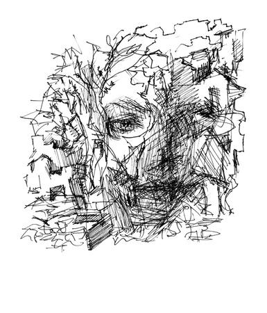 mishmash: Hand drawn abstraction autumn depresion